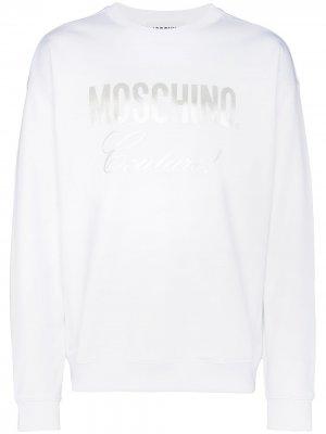 Толстовка с логотипом Moschino. Цвет: белый