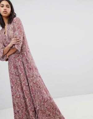 Платье макси с принтом птиц Sofie Schnoor. Цвет: мульти
