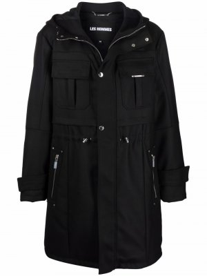 Drawstring-waist trench coat Les Hommes. Цвет: черный