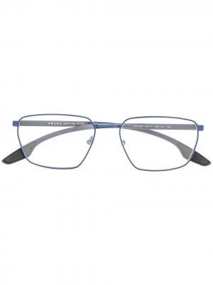 Очки в прямоугольной оправе с логотипом Prada Eyewear. Цвет: синий