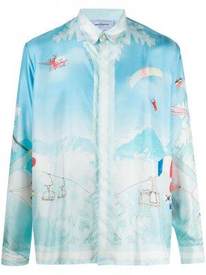 Рубашка с принтом Ski Club Casablanca. Цвет: синий