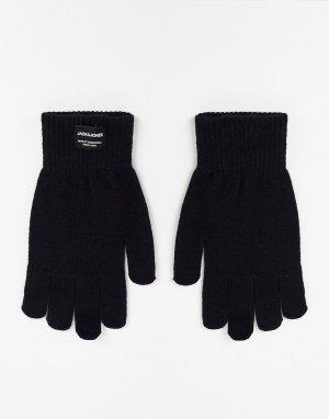 Черные вязаные перчатки в классическом стиле -Черный цвет Jack & Jones