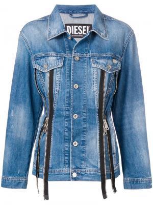 Джинсовая куртка на молнии Diesel. Цвет: синий
