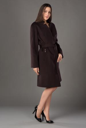 Стильное женское кашемировое пальто средней длины молодежное Bella Bicchi. Цвет: коричневый