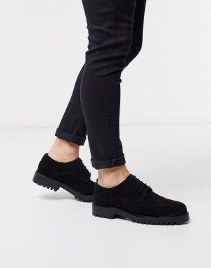 Черные замшевые туфли дерби Walk London-Черный LONDON
