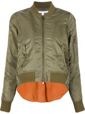 Классическая куртка-бомбер Veronica Beard. Цвет: зелёный