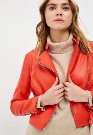 Куртка кожаная Guess Jeans. Цвет: красный