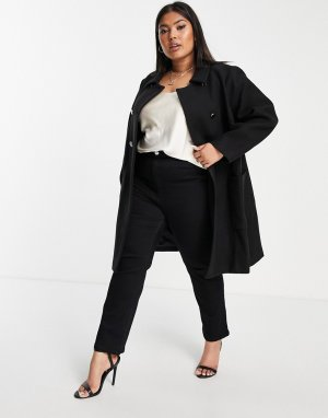 Строгое пальто-бушлат черного цвета с воротником -Черный цвет Forever New Curve