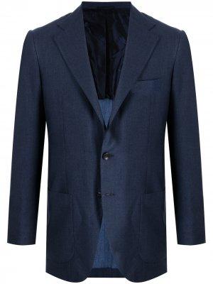Однобортный пиджак строгого кроя Kiton. Цвет: синий