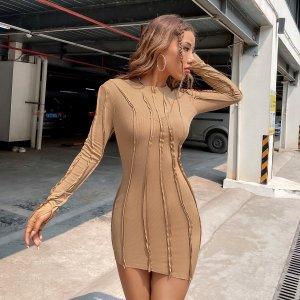 Вязаное облегающее платье в рубчик с отверстием для большего пальца SHEIN. Цвет: хаки