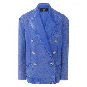 Хлопковый жакет/джинсовый Balmain. Цвет: синий