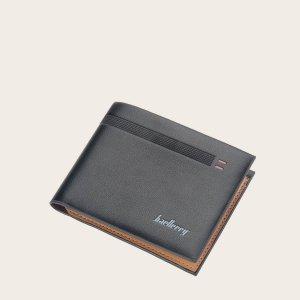 Мужской однотонный кошелек SHEIN. Цвет: чёрный