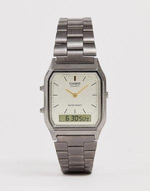 Темно-серые наручные часы в винтажном стиле -Серый Casio