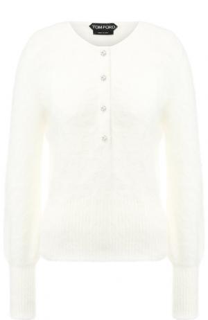 Однотонный пуловер с круглым вырезом Tom Ford. Цвет: белый