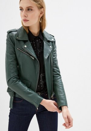 Куртка кожаная Serge Pariente. Цвет: зеленый