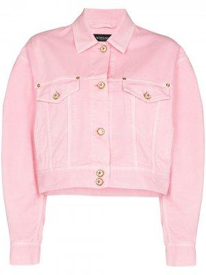 Cropped denim jacket Versace. Цвет: розовый