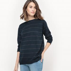 Пуловер из хлопка и кашемира в металлизированную полоску La Redoute Collections. Цвет: слоновая кость/ золотистый