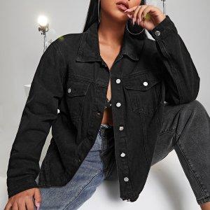 Джинсовая куртка с открытыми плечами и карманом размера плюс SHEIN. Цвет: чёрный