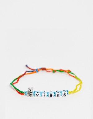 Многоцветный плетеный браслет на ногу с надписью Vibes -Разноцветный ASOS DESIGN