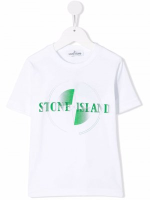 Sketched logo-print T-shirt Stone Island Junior. Цвет: белый