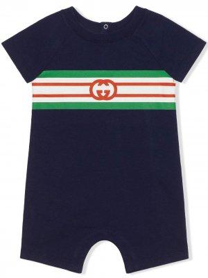 Monogram-print stripe-detail one-piece Gucci Kids. Цвет: синий