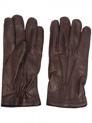 Перчатки с тональной строчкой Lady Anne. Цвет: коричневый