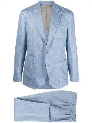 Костюм с однобортным пиджаком Brunello Cucinelli. Цвет: синий