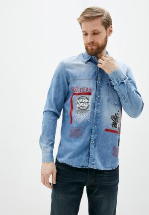 Рубашка джинсовая Frankie Morello. Цвет: голубой