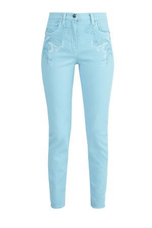Зауженные джинсы на высокой посадке с вышивкой ручной работы ETRO. Цвет: бирюзовый