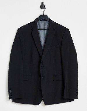 Черный приталенный классический пиджак Burton Essential-Черный цвет Menswear