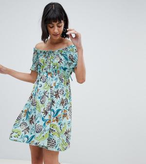 Эксклюзивное платье в стиле бэби-долл с принтом ананасов Anna Sui. Цвет: мульти