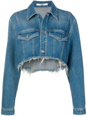Укороченная джинсовая куртка с вышивкой Givenchy. Цвет: синий