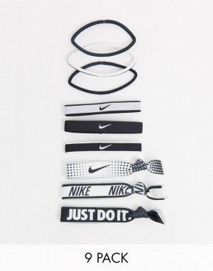 Набор из 9 резинок для волос в черно-белой гамме с принтом логотипа Nike-Многоцветный