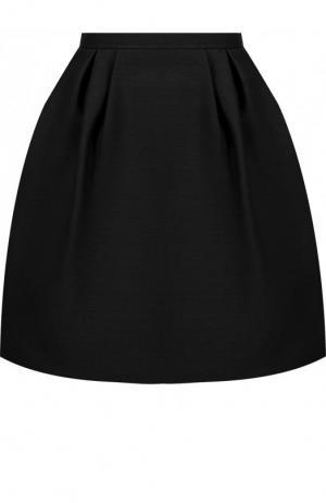 Однотонная мини-юбка из смеси шерсти и шелка Valentino. Цвет: черный
