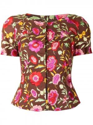 Топ с короткими рукавами и цветочной вышивкой Christian Lacroix Pre-Owned. Цвет: коричневый