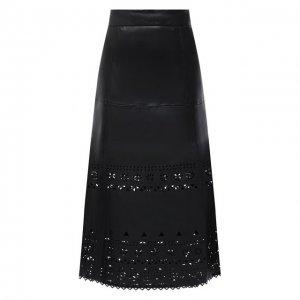 Кожаная юбка Polo Ralph Lauren. Цвет: чёрный