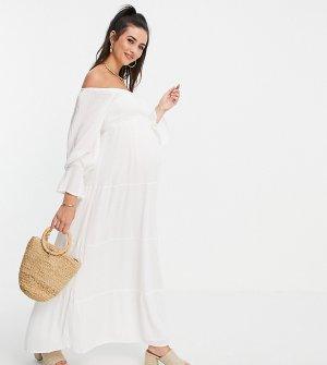 Белое ярусное платье макси с открытыми плечами x Brooke Vincent-Белый In The Style Maternity
