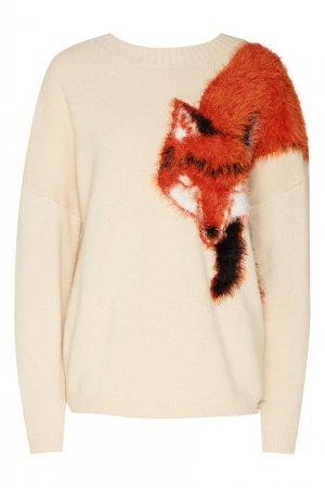 Кремовый пуловер с аппликацией-лисой Akhmadullina DREAMS. Цвет: бежевый