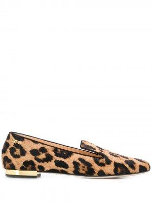 Лоферы с леопардовым принтом Charlotte Olympia. Цвет: нейтральные цвета