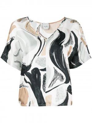 Блузка с принтом Swan Rhapsody Alysi. Цвет: белый