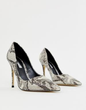 Серые туфли-лодочки с принтом под змеиную кожу Miss Selfridge