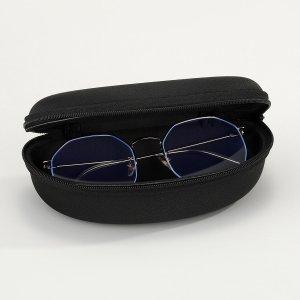 Мужской футляр для очков с молнией SHEIN. Цвет: чёрный