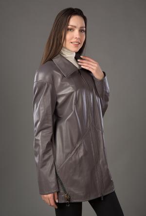 Кожаный плащ укороченного типа для осени ARMANDO DIAZ. Цвет: серый