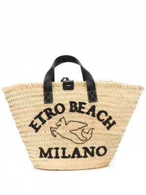 Пляжная сумка-тоут с вышивкой Etro. Цвет: нейтральные цвета