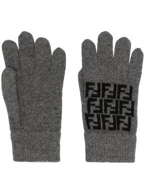 Перчатки с узором Zucca Fendi. Цвет: серый