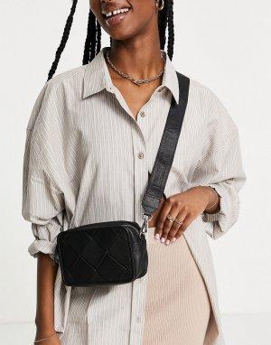 Черная кожаная сумка для камеры через плечо с плетеным дизайном -Черный цвет ASOS DESIGN
