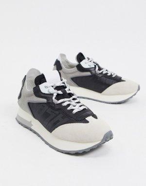 Беговые кроссовки в сером и черном цветах ASH tiger-Серый