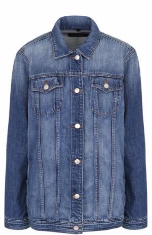 Удлиненная джинсовая куртка с потертостями J Brand. Цвет: голубой