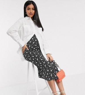 Атласная юбка миди в горошек с цветочным принтом ASOS DESIGN Maternity-Черный цвет Maternity
