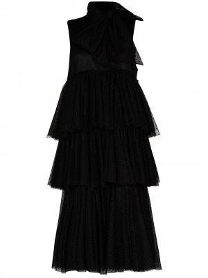 Многослойное платье миди из тюля Viktor & Rolf. Цвет: черный